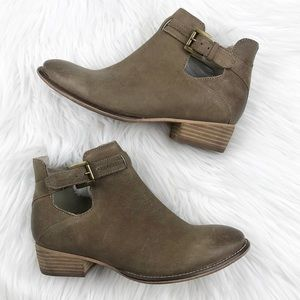 Anthropologie leather cut out ankle boots